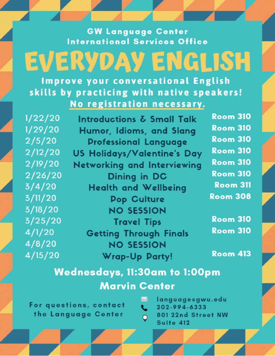 Everyday English Spring 2020 Flyer