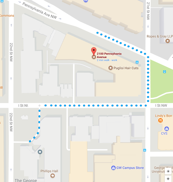 Walking directions from Phillips to 2100 Penn