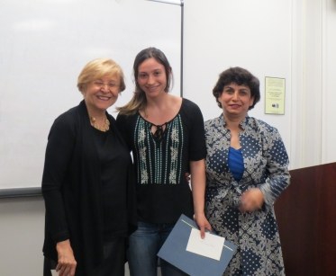 Dr. Mahvash Shahegh (left) and Dr. Pardis Minuchehr (right) award Emily Salwen (center) a Jahangiri Scholarship Award. Emily Sal