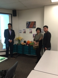 Arsia Rozegar (right), author, and Professors Pardis Minuchehr (center) and Maziar  Valamotamed (left).  Arsia Rozegar lectured